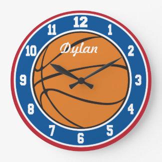 Red White and Blue Basketball Clock
