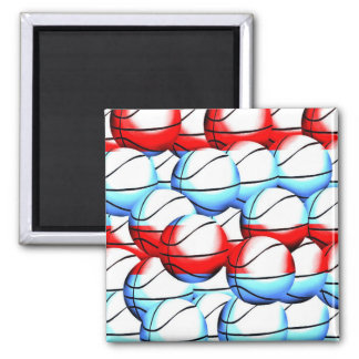 Red, White and Blue Basketballs Magnet