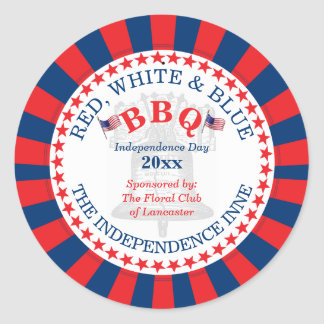 Red, White and Blue BBQ 4th of July Party Classic Round Sticker