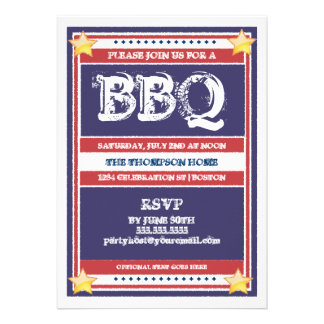 Red White and Blue BBQ Invitation