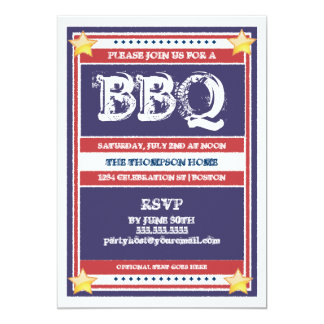 Red, White, and Blue BBQ Invitation