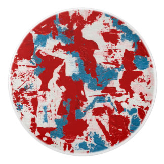 Red, White and Blue Brushstrokes Ceramic Knob