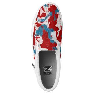 Red, White and Blue Brushstrokes Printed Shoes