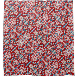 Red, White and Blue Brushstrokes Shower Curtain