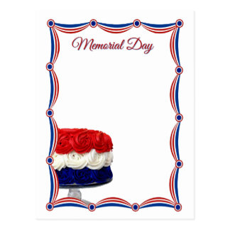 Red White and Blue Bunting Cake Memorial Day Postcard