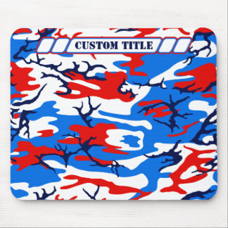 Red White and Blue Camo Mousepad w/ Custom Title