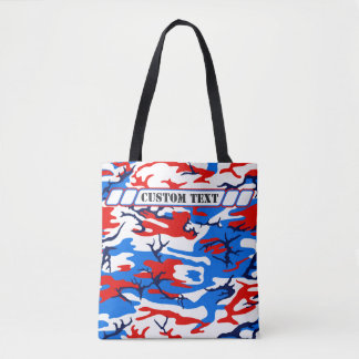 Red White and Blue Camo Tote w/ Custom Text Tote Bag