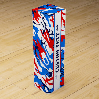 Red White and Blue Camo w/ Custom Text Wine Gift Box