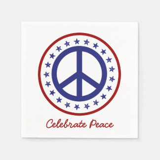Red White and Blue Celebrate Peace Personalized Paper Serviettes