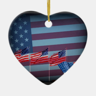 Red White And Blue Ceramic Heart Decoration