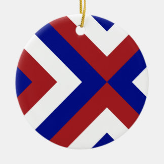 Red, White, and Blue Chevrons Christmas Ornament