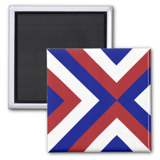 Red, White, and Blue Chevrons Square Magnet