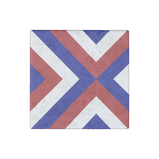 Red, White, and Blue Chevrons Stone Magnet