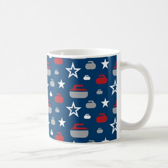 Red, White and Blue Curling Rocks Coffee Mug