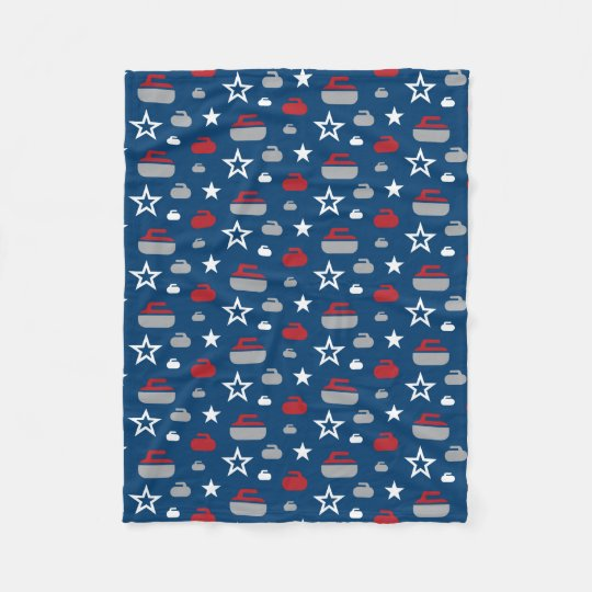 Red, White and Blue Curling Rocks Fleece Blanket