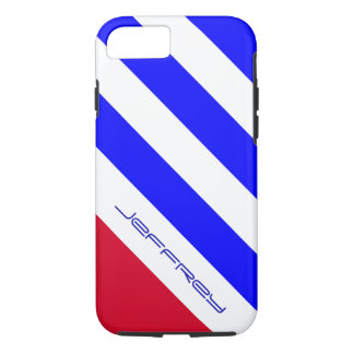 Red, White, and Blue Diagonal Stripe Custom w/Name iPhone 7 Case