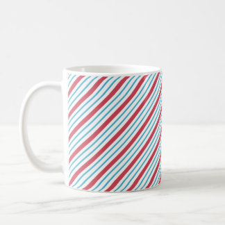 Red, White, and Blue Diagonal Stripes Coffee Mugs