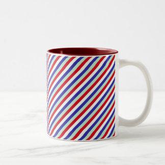 Red, White, and Blue Diagonal Stripes Two-Tone Mug
