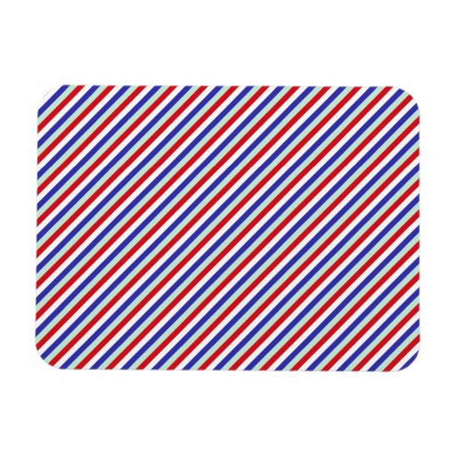 Red, White, and Blue Diagonal Stripes Rectangular Magnets