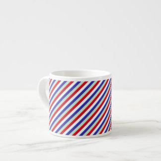 Red White and Blue Diagonal Stripes Espresso Mug