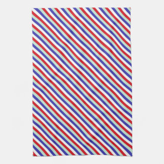Red, White, and Blue Diagonal Stripes Towels