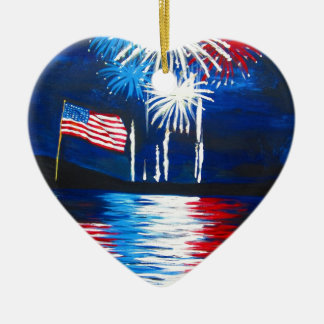 red, white and blue fireworks ceramic heart decoration