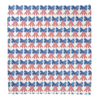 Red White and Blue Flag Bow Ribbon Bandana
