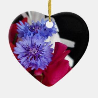 Red, white and blue flower arrangement photo ceramic heart decoration