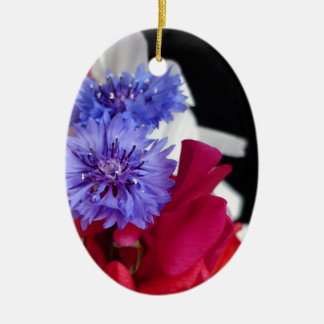 Red, white and blue flower arrangement photo ceramic oval decoration