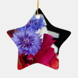 Red, white and blue flower arrangement photo ceramic star decoration