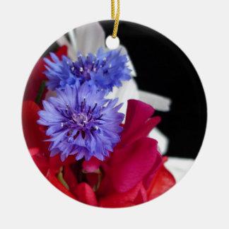 Red, white and blue flower arrangement photo round ceramic decoration