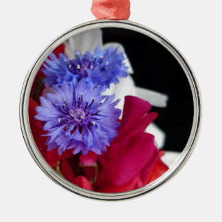 Red, white and blue flower arrangement photo Silver-Colored round decoration
