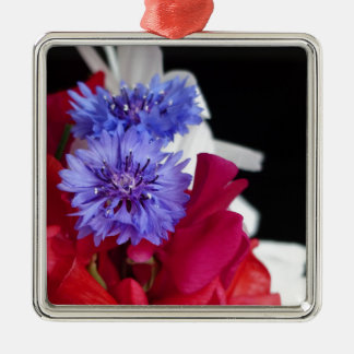 Red, white and blue flower arrangement photo Silver-Colored square decoration