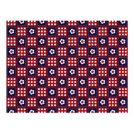 Red White and Blue Flower Patchwork Quilt Pattern Postcard Zazzle