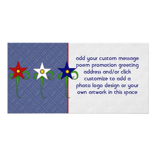Red, White, and Blue Flowers Photo Card Template