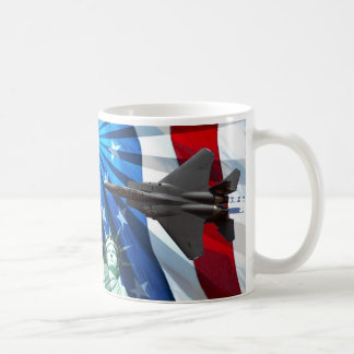 RED WHITE AND BLUE FLY-BY CLASSIC WHITE COFFEE MUG