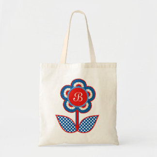 Red, White and Blue Freedom Flower Tote Bag