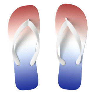 Red White and Blue Gradient Patriotic Flip Flops