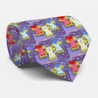 Red, White, and Blue Guardian Angel Nekos Tie