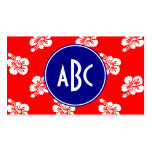 Red White and Blue Hawaiian Monogram Pack Of Standard Business Cards