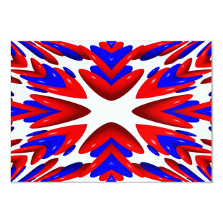 """Red, White and Blue Heart """"Warp"""" Background 9 Cm X 13 Cm Invitation Card"""
