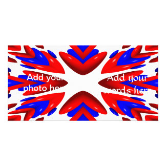 "Red, White and Blue Heart ""Warp"" Background Photo Cards"