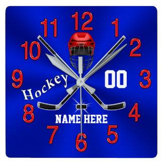 Red White and Blue Hockey Clock Hockey Room Decor