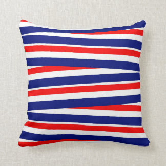 Red White and Blue Horizontal Stripes Cushion