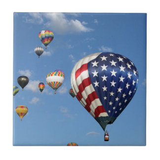 Red, White and Blue Hot Air Balloon Small Square Tile