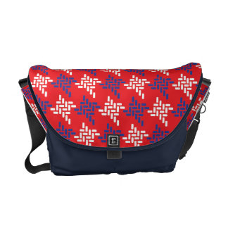 Red White And Blue Houndstooth Pattern Custom Messenger Bags