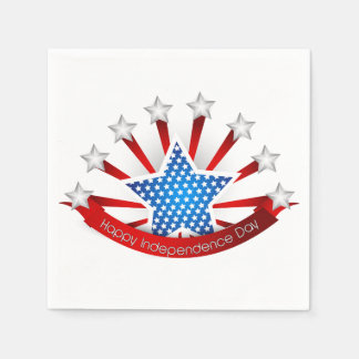 Red White and Blue Independence Day Paper Napkins