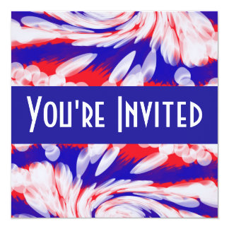 """red white and blue 5.25"""" square invitation card"""