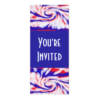 """red white and blue 4"""" x 9.25"""" invitation card"""