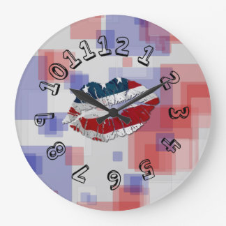 Red White and Blue Large Clock